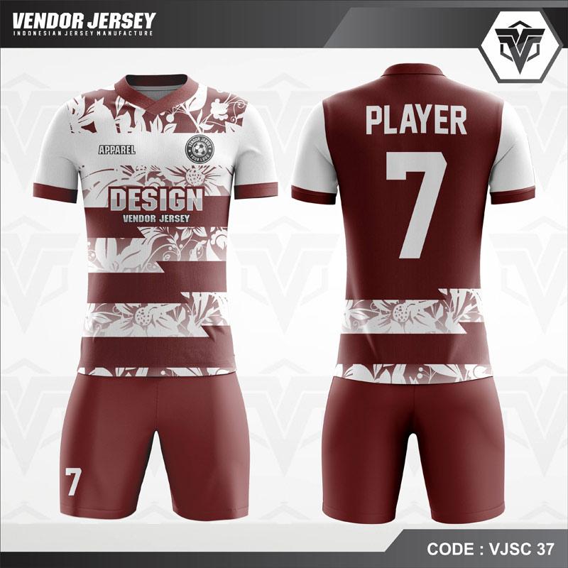 Baju Futsal Printing Marun Berbunga Code VJSC 37