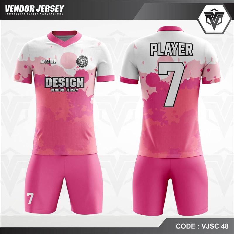 Baju Futsal Printing Pink Bercak Putih Code VJSC 48