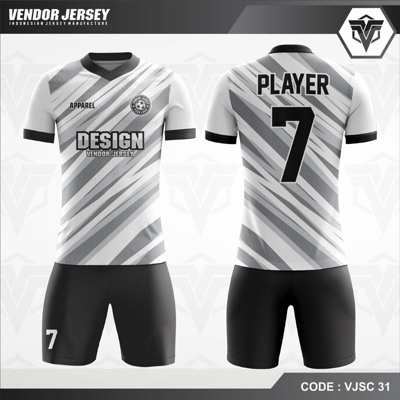 Baju Futsal Printing Putih List Abu Code VJSC 31