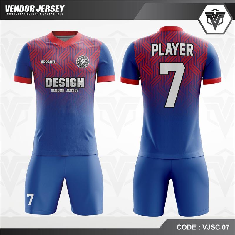 Desain Baju Futsal Code VJSC 07 Gradasi Biru