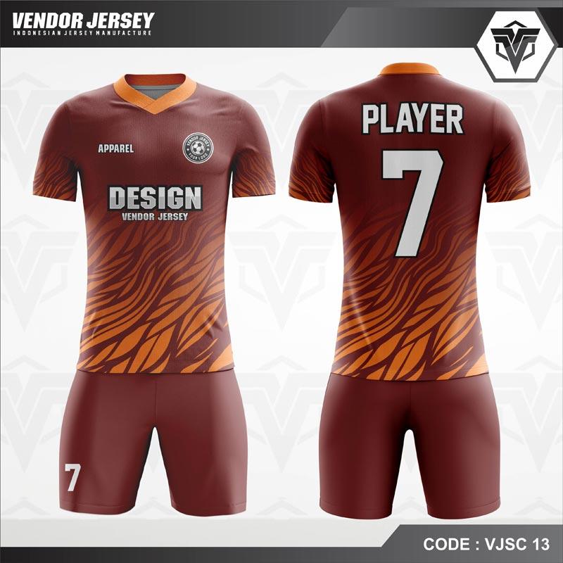 Desain Baju Futsal Code VJSC 13 Marun Orange