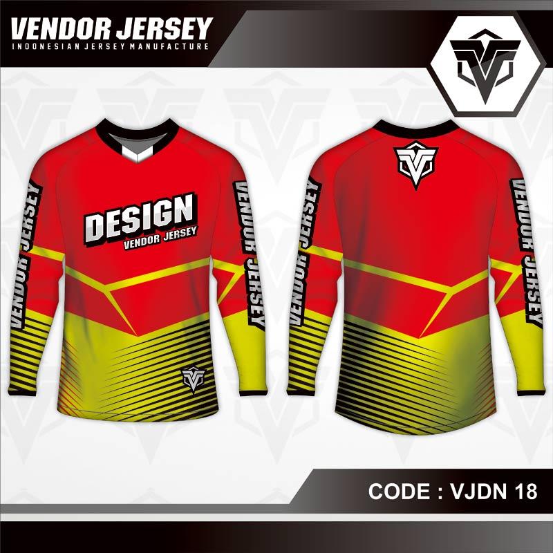Desain Baju Sepeda Gowes Code VJDN 18 Merah Kombinasi Kuning