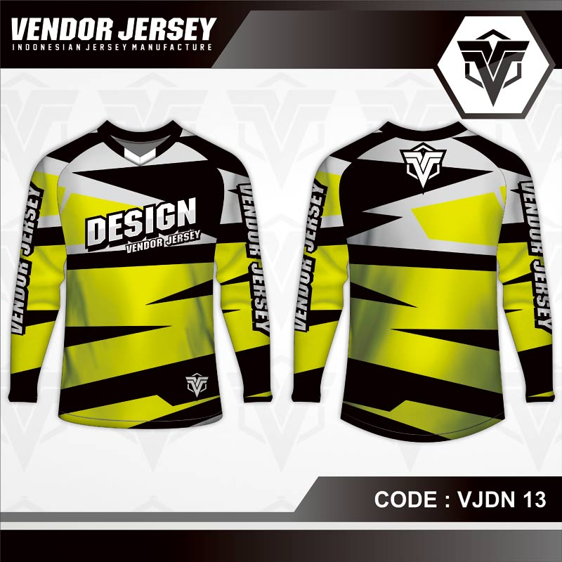 Desain Baju Sepeda Gunung Code VJDN 13 Kuning Hitam