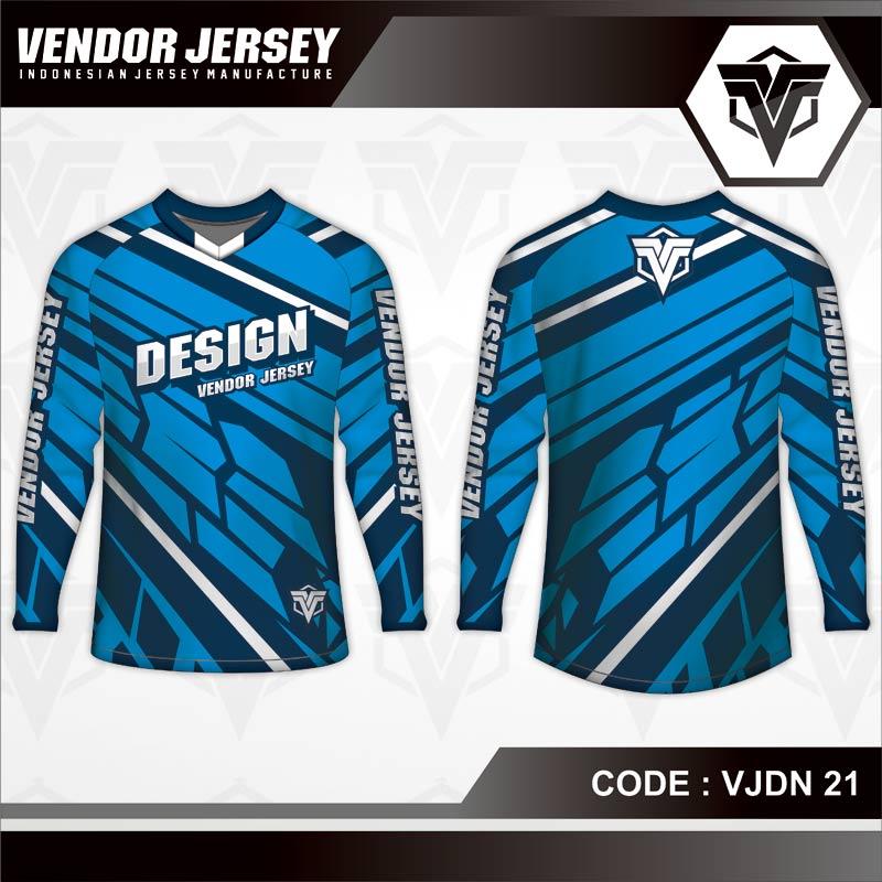Desain Baju Sepeda Gunung Code VJDN 21 Biru Tua Muda