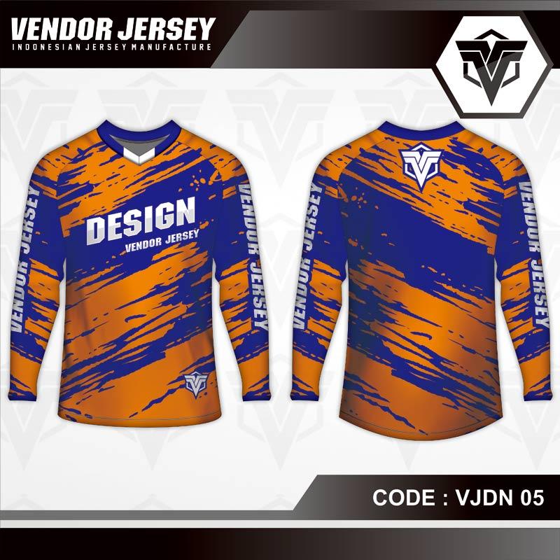 Desain Baju Sepeda MTB Code VJDN 05 Orange Biru