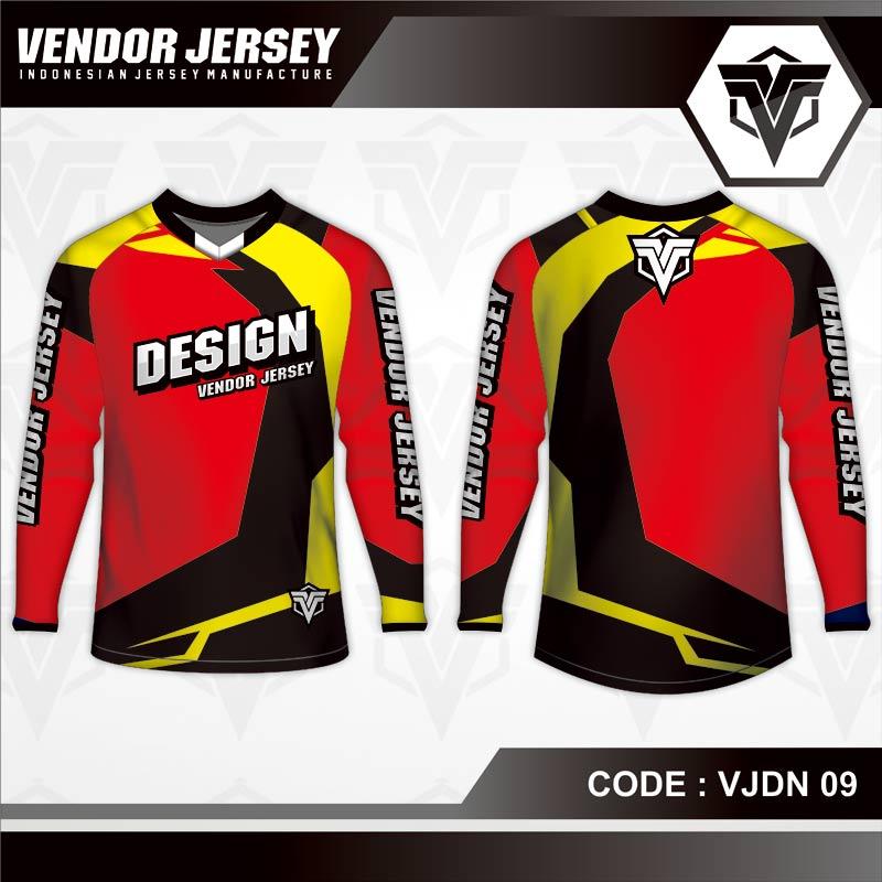Desain Baju Sepeda MTB Code VJDN 09 Merah Kuning Hitam.