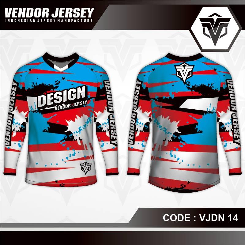 Desain Baju Sepeda MTB Code VJDN 14 Bercak Biru Merah