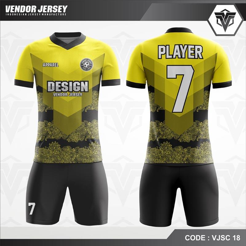 Desain Jersey Futsal Code VJSC 18 Kuning Hitam Gradasi