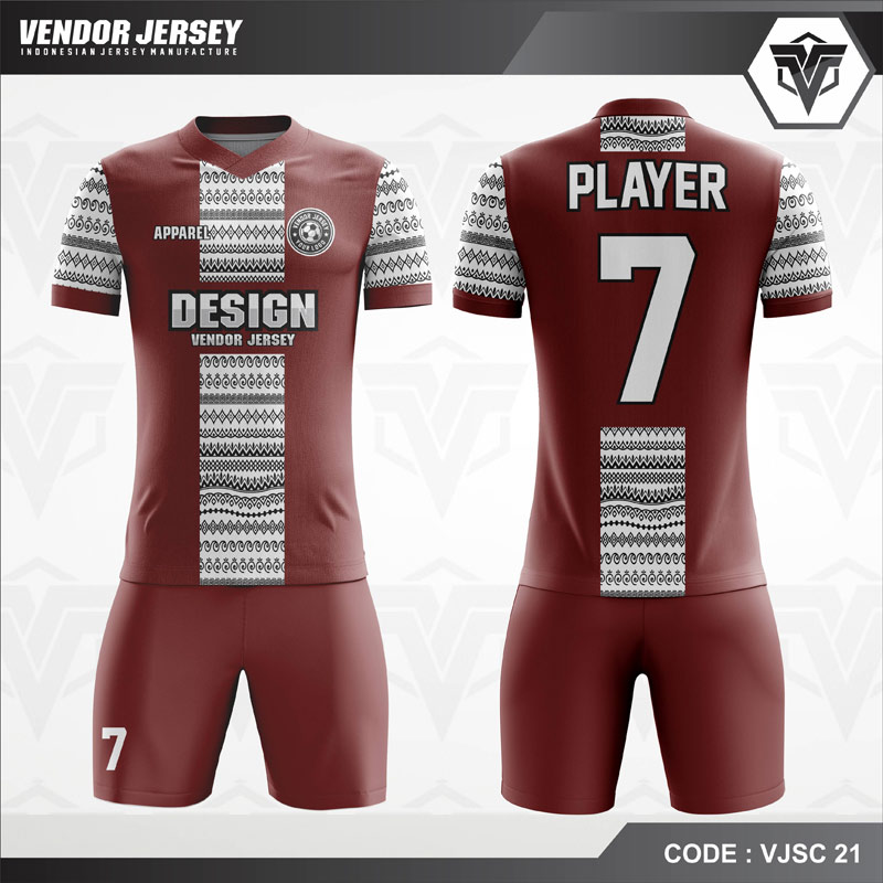 Desain Jersey Futsal Code VJSC 21 Batik Marun