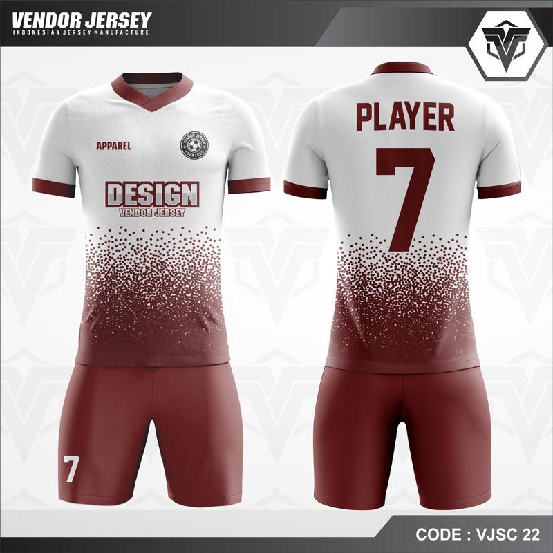 Desain Jersey Futsal Code VJSC 22 Putih Maroon Bintik Bintik