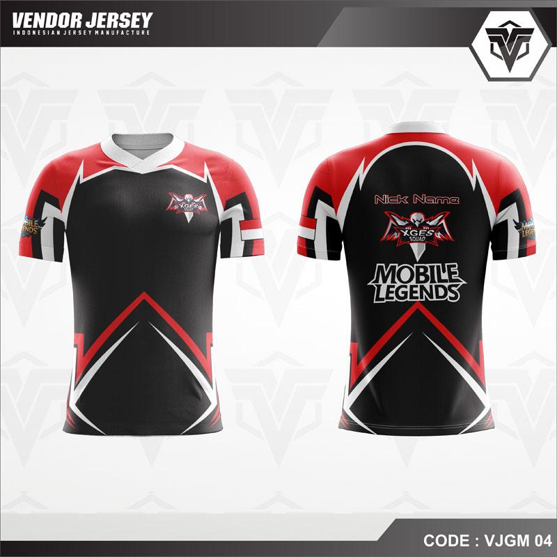 Desain Jersey Gaming Esport Code VJGM 04 Warna Merah