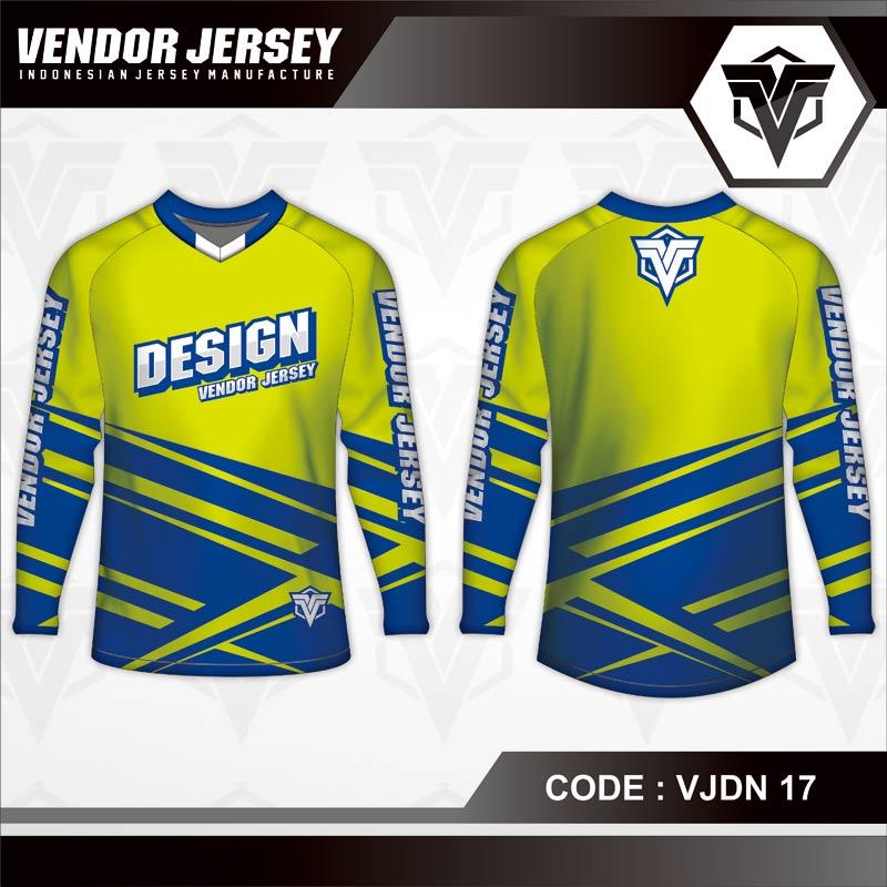 Desain Jersey Sepeda Gowes Code VJDN 17 Hijau Daun Biru