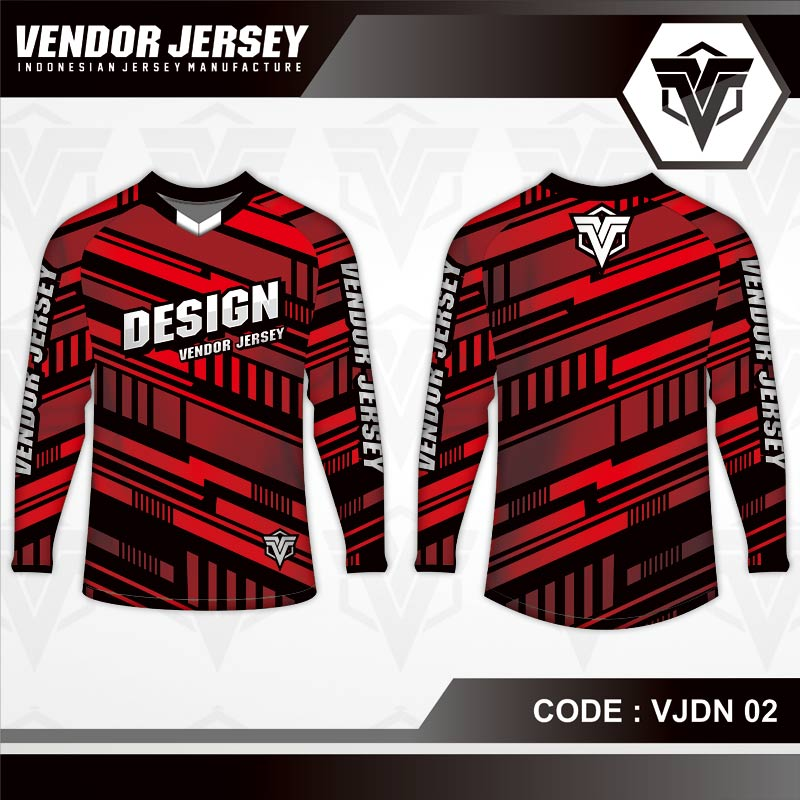 Desain Jersey Sepeda Gunung Code VJDN 02 Merah Garis Garis