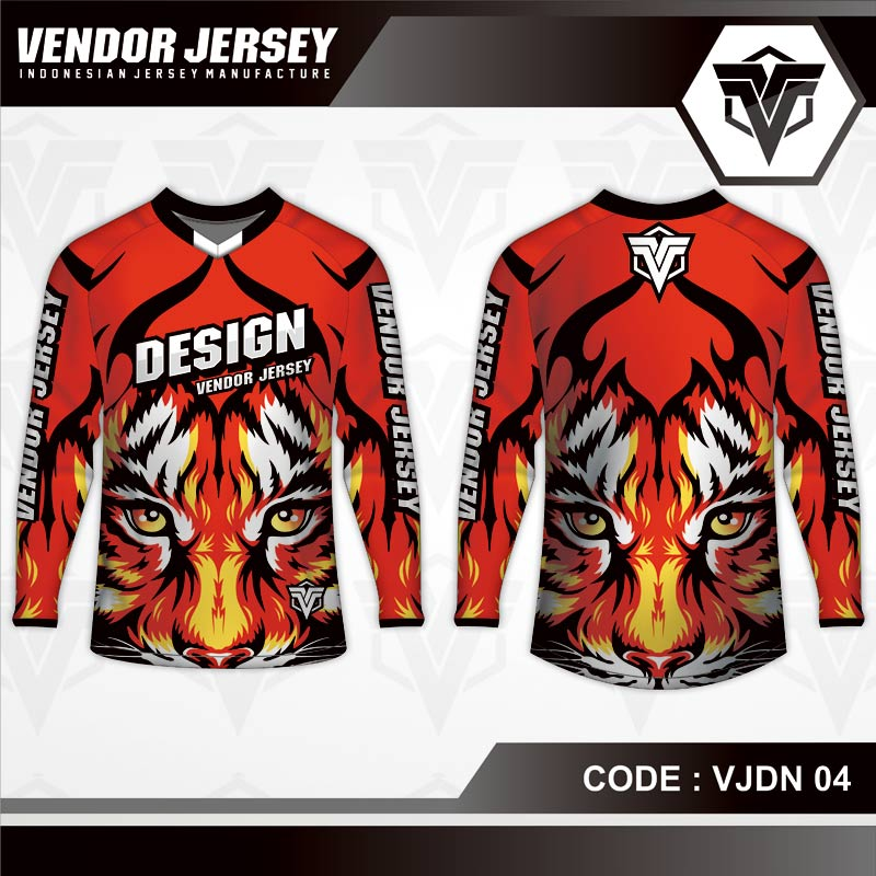 Desain Jersey Sepeda MTB Code VJDN 04 Gambar Harimau