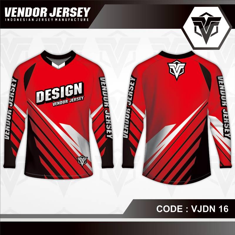 Desain Jersey Sepeda Santai Code VJDN 16 Warna Merah Simple