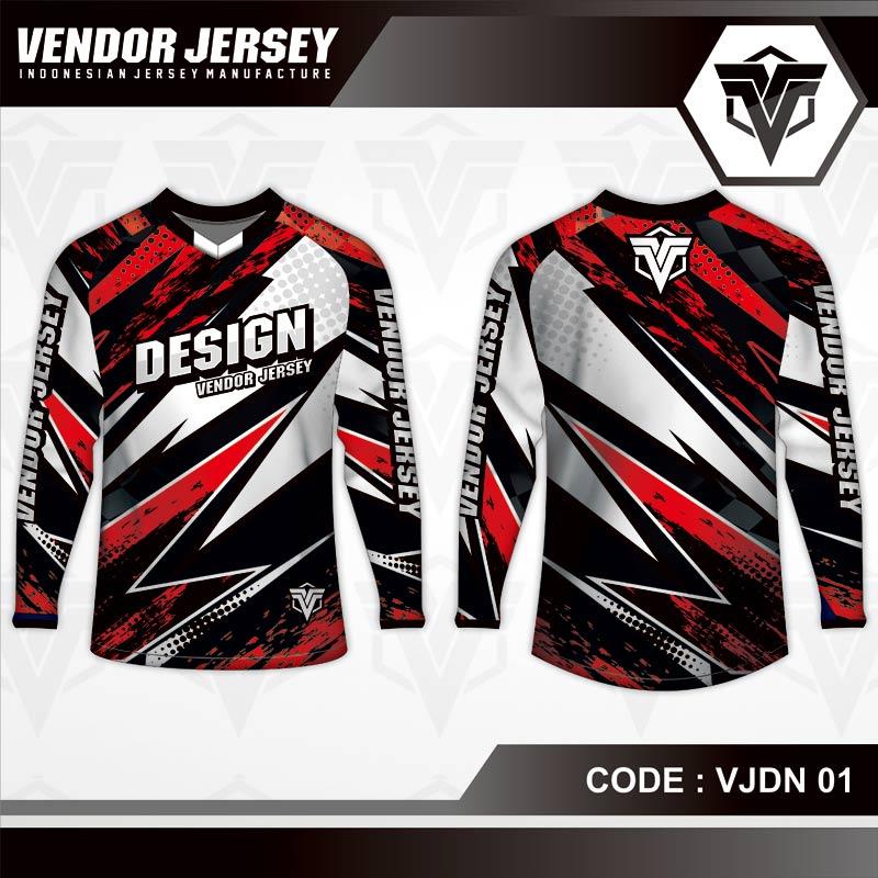 Desain Jersey Sepeda Printing Code VJDN 01 Merah Putih Hitam