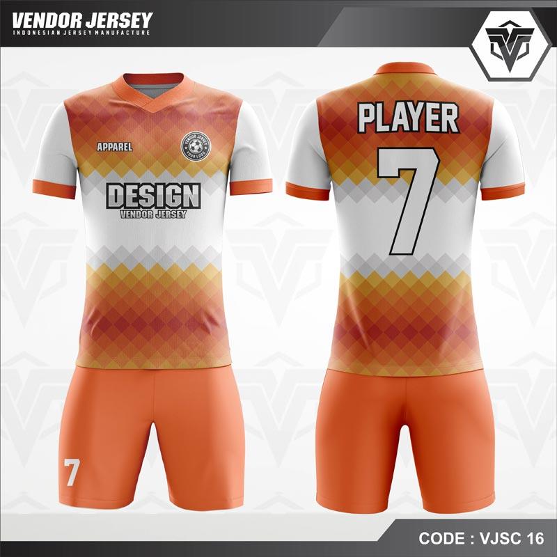 Desain Kaos Futsal Code VJSC 16 Orange Putih