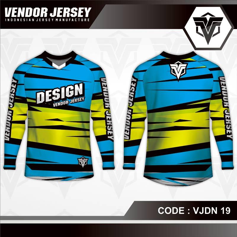 Desain Kaos Sepeda Gowes Code VJDN 19 Biru Garis Kuning