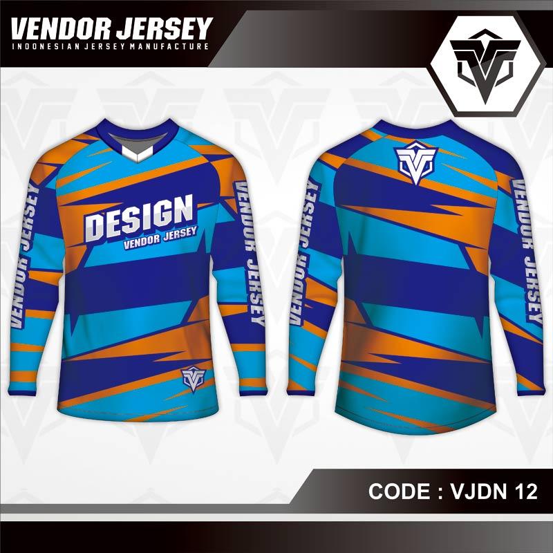 Desain Kaos Sepeda Gunung Code VJDN 12 Biru Orange Zig Zag