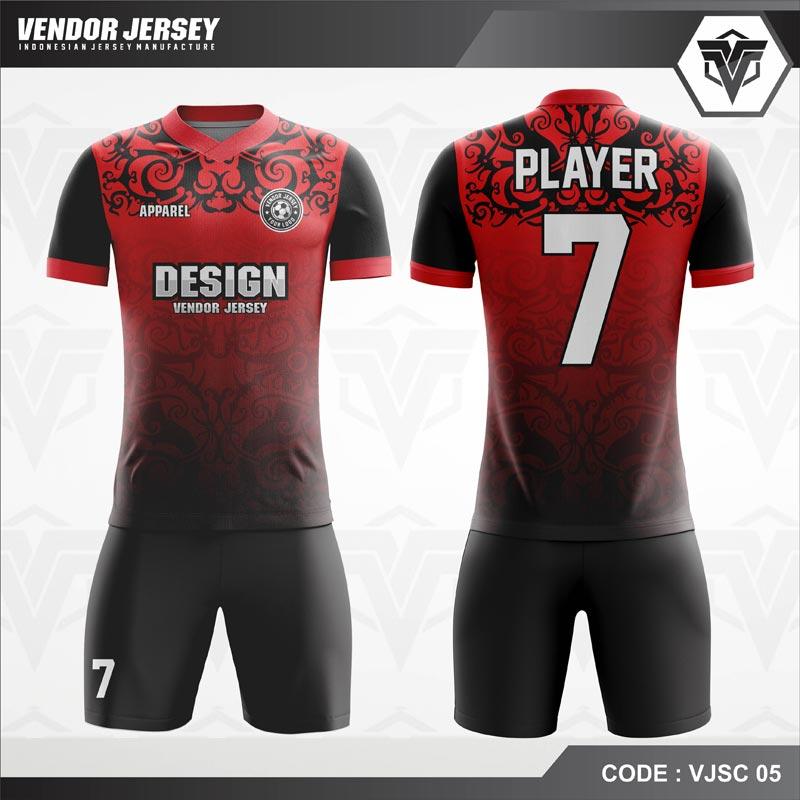 Desain Kostum Futsal Code VJSC 05 Batik Merah