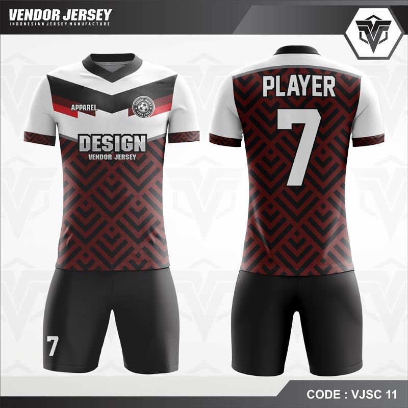 Desain Kostum Futsal Code VJSC 11 Marun Hitam