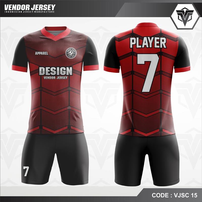 Desain Kostum Futsal Code VJSC 15 Merah Gradasi