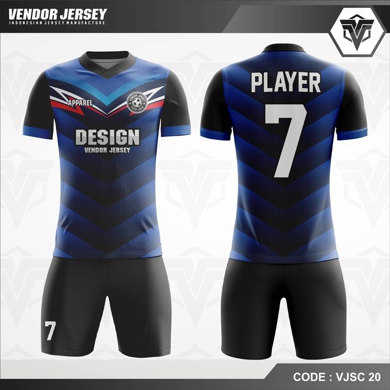 Desain Kostum Futsal Code VJSC 20 Biru Hitam Keren