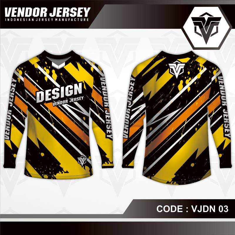 Desain baju Sepeda MTB Code VJDN 03 kuning hitam orange