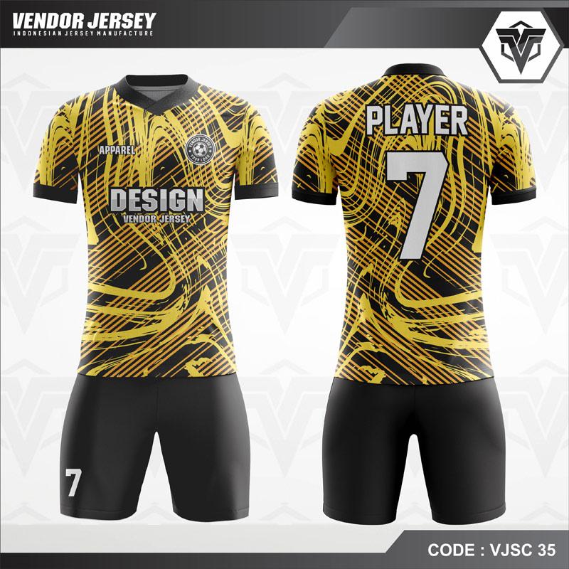Jersey Futsal Hitam Motif Kuning VJSC 35