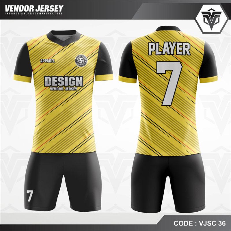 Jersey Futsal Printing Kuning Garis-Garis VJSC 36