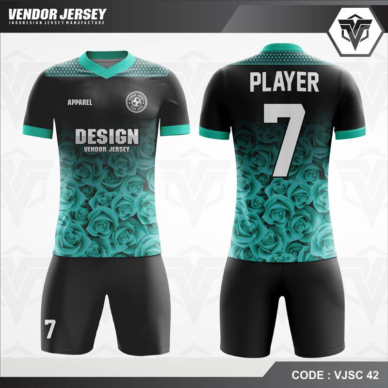 Jersey Futsal Printing Tosca Hitam Gradasi Bunga Code VJSC 42