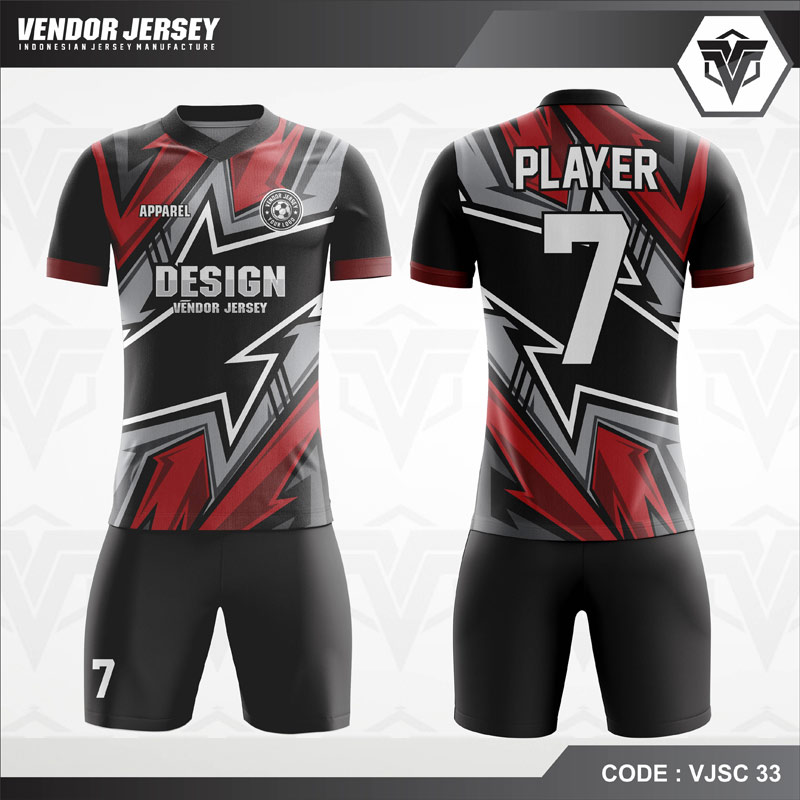 Kaos Futsal Printing Hitam Merah Abu VJSC 32