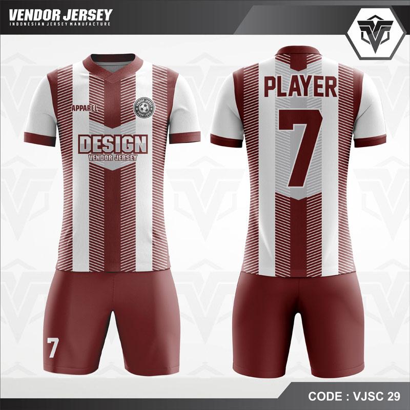 Kaos Futsal Printing Marun Putih Garis Garis Code VJSC 29.
