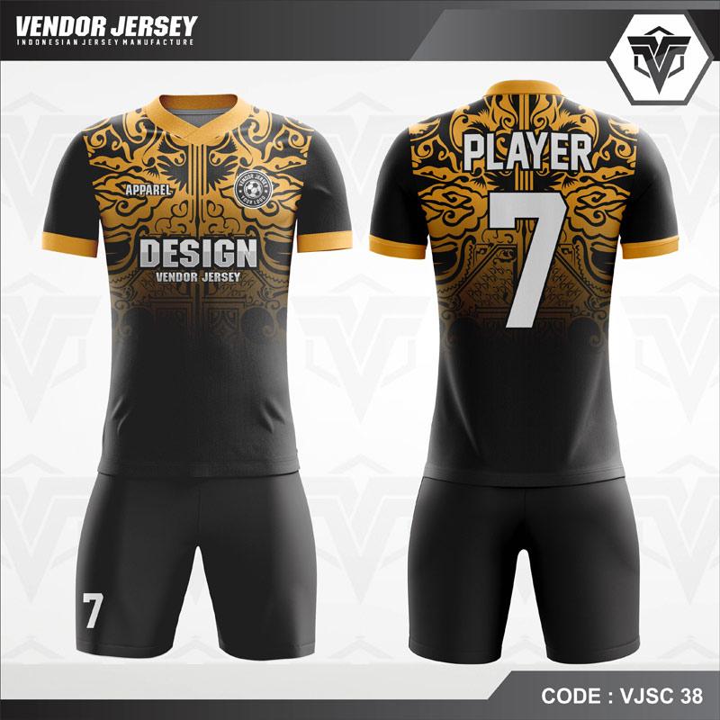 Kaos Futsal Printing Motif Ukiran Code VJSC 38 Kuning Hitam