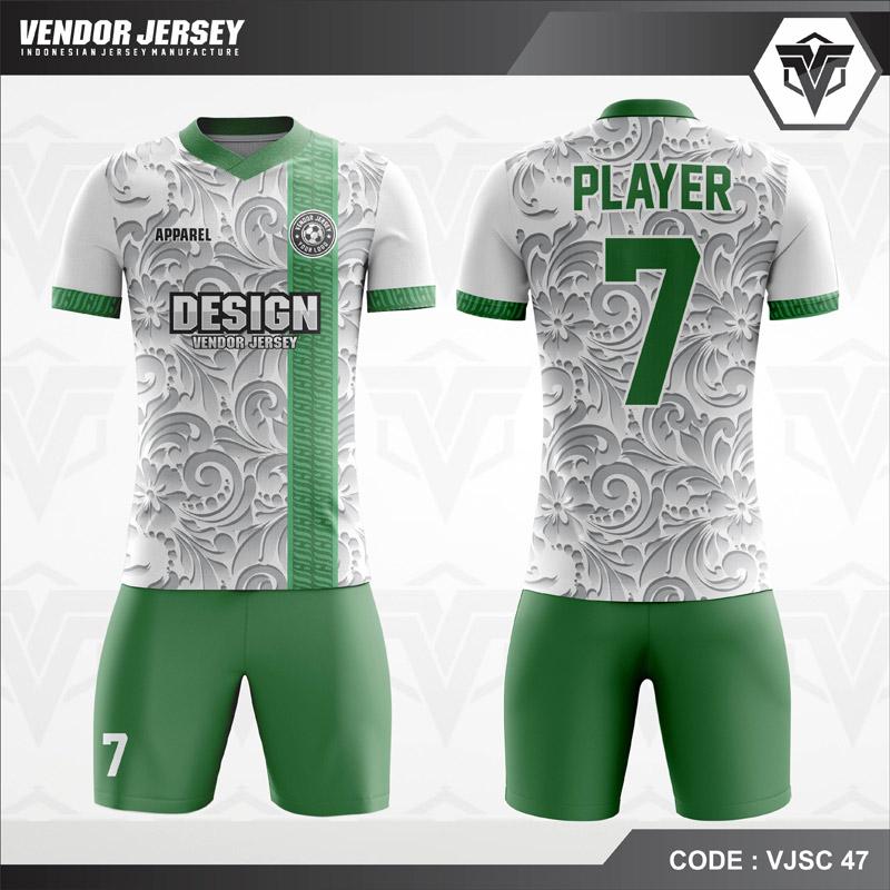 Kaos Futsal Printing Putih Gradasi Abu Ukiran Bunga Code VJSC 47