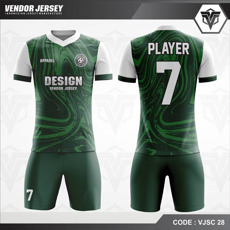 Kostum Futsal Printing Hijau Putih Keren Code VJSC 28