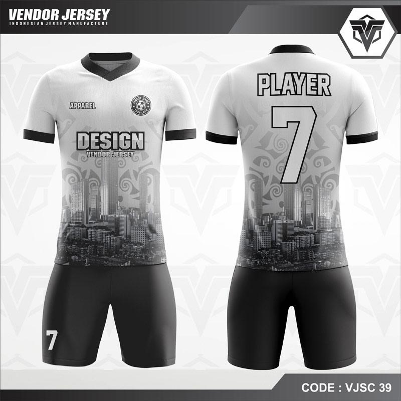 Kostum Futsal Printing Motif Urban Code VJSC 38 Hitam Putih