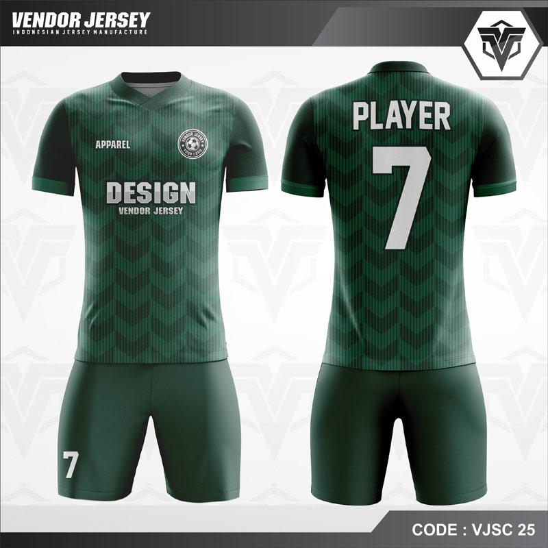 Model Desain Kostum Futsal Code VJSC 25 Hijau Klasik