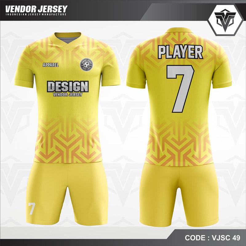 Seragam Futsal Printing Kuning Gradasi Ornamen Code VJSC 49